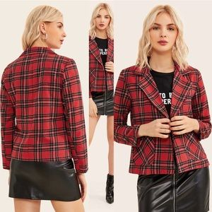 🆕Holiday button front plaid blazer jacket red